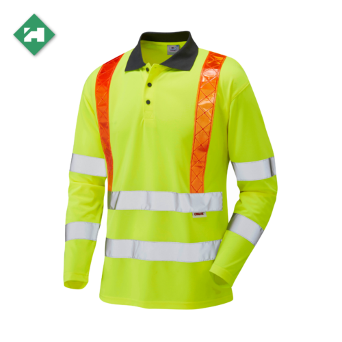 HV0067_EcoViz Orange Brace Sleeved Polo Shirt