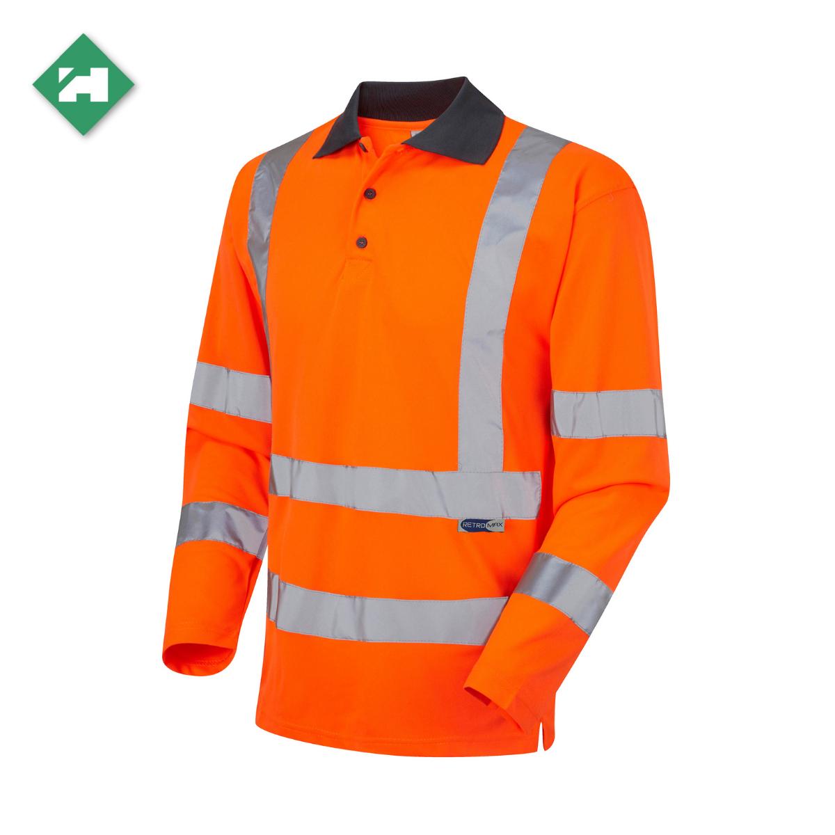HV0170_EcoViz Long Sleeved Polo Shirt_Orange